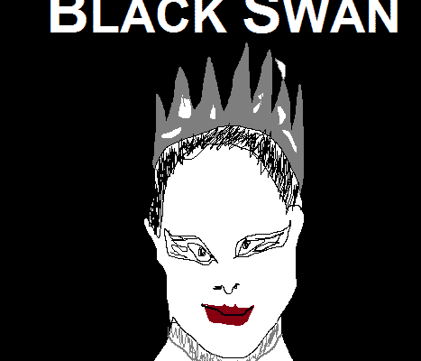 A shitty, MS paint picture parody of Black Swan movie poster
