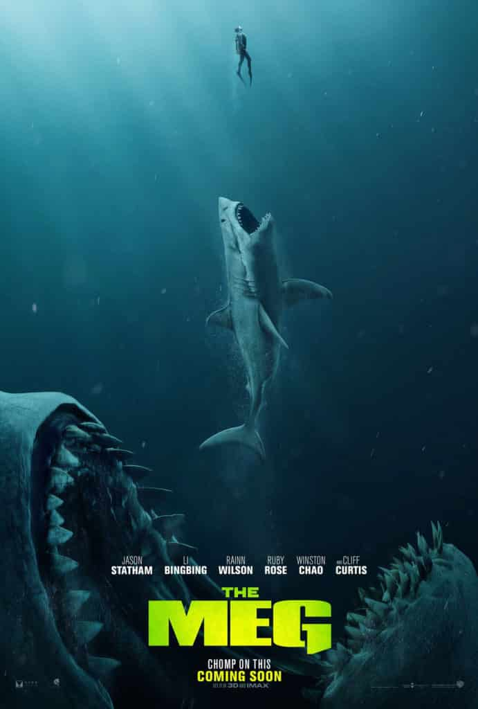 A movie poster of The Meg featuring a shark about to eat another shark,, who is about to eat a man.
