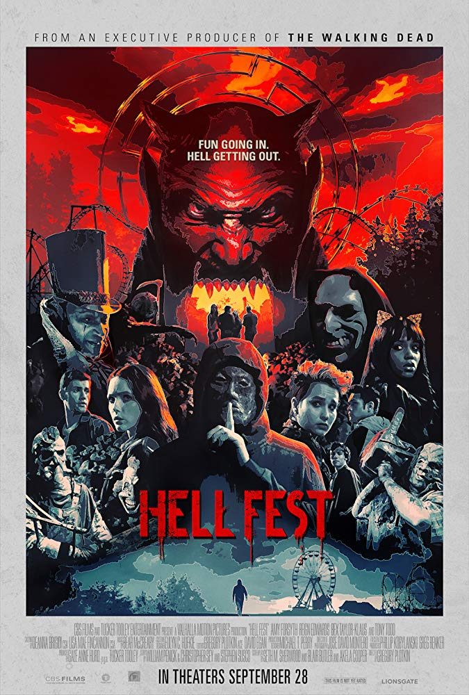Poster for Hell Fest, the movie reviewed on Horror Movie Talk Episode 9
