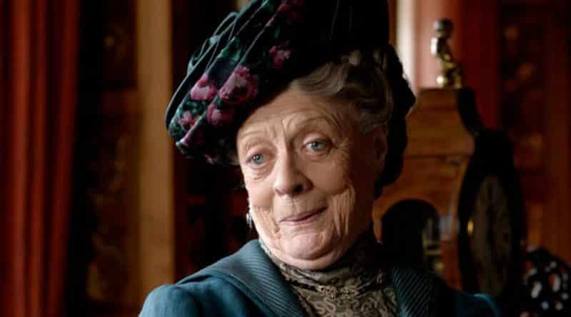The Dowager Countess from Downton Abbey looking excited.