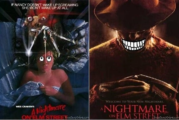 Comparing the movie poster from the original Nightmare on Elm Street to the 2010 remake