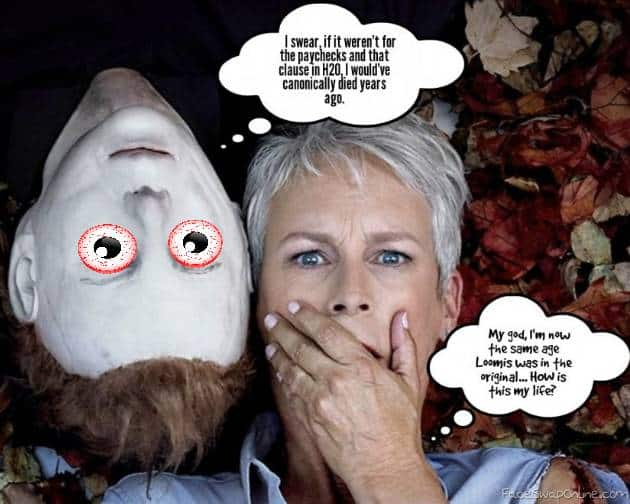 A cartoon depicting Michael Myers and Jamie Lee Curtis