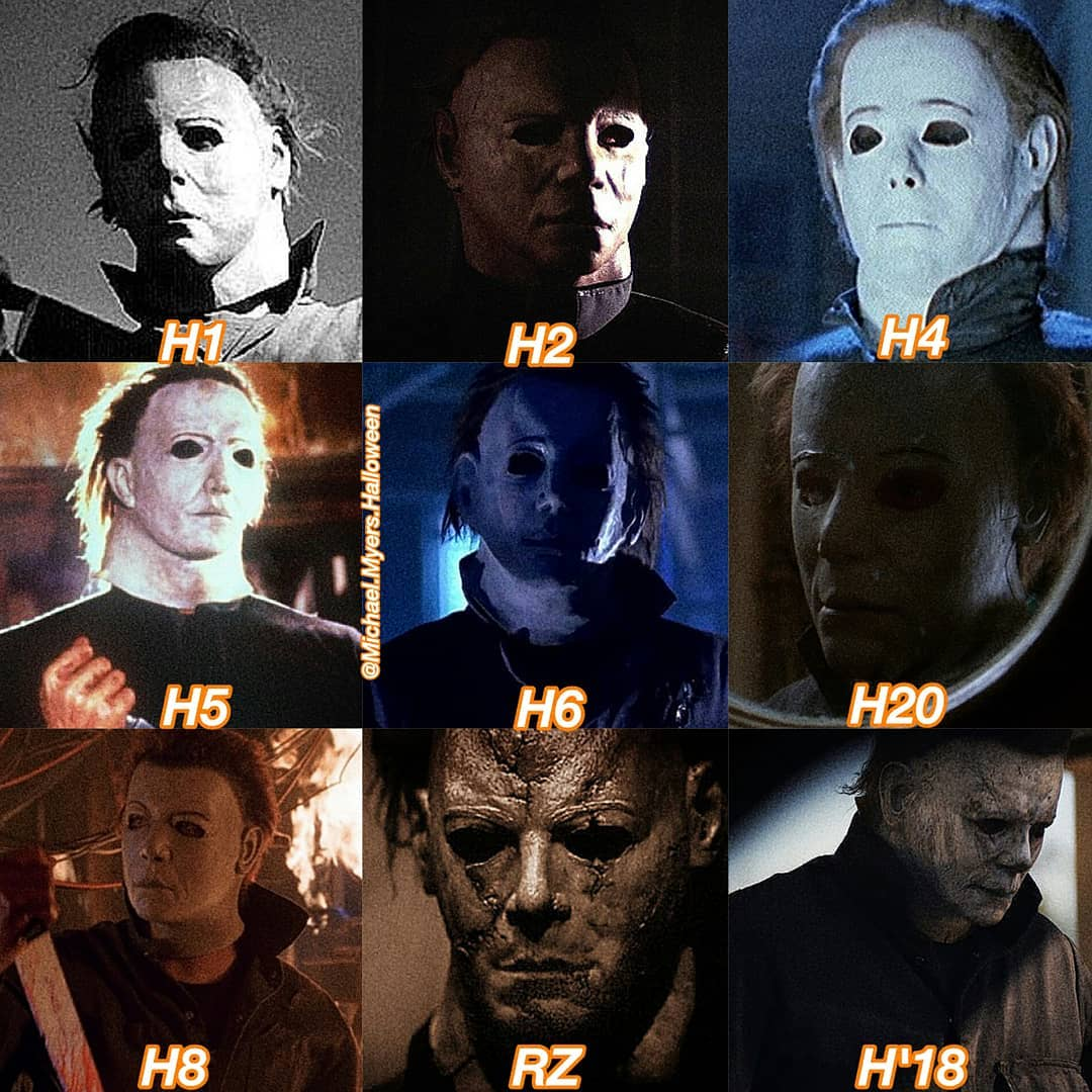 Comparison between all the different masks that Mike Myers wore