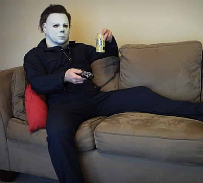 Michael Myers enjoying a beer and the game