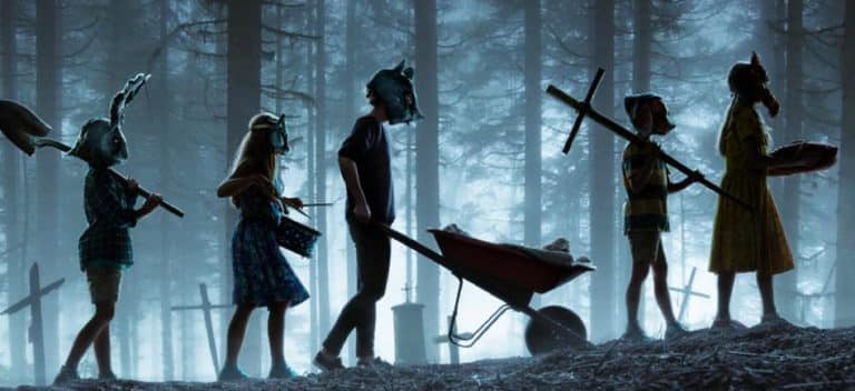 Pet Sematary kids marching into the forest