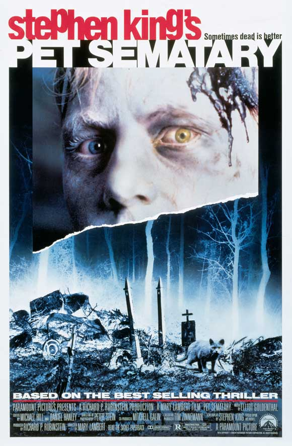 Poster for Pet Sematary (1989), the movie beign reviewed by Horror Movie Talk on Episode 37.