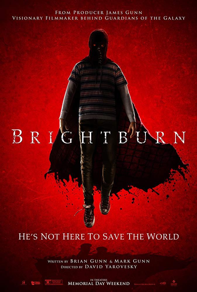 Brightburn movie poster, the horror movie being reviewed on horror movie talk this week.