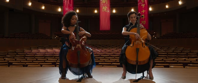 Lizzie and Charlotte playing Cello in the Perfection