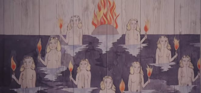 This wood panel illustration shows what the Midsommar festival is really about