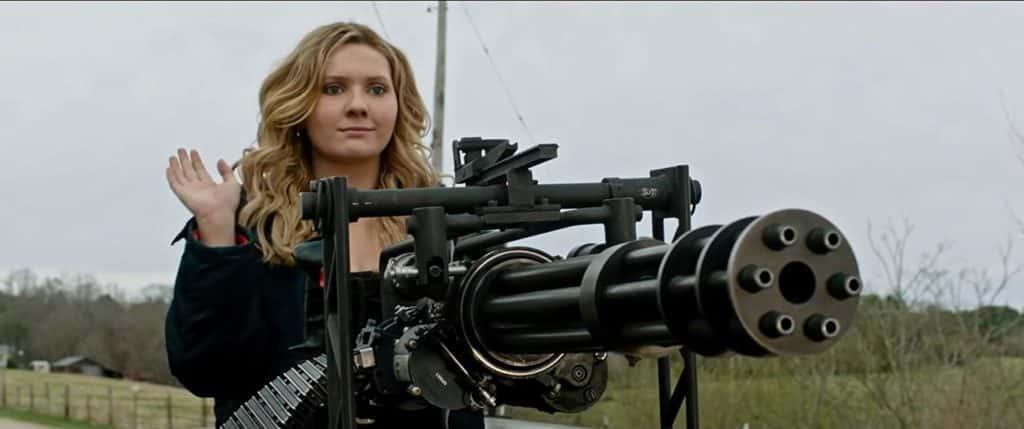 Little Rock with a Gatling gun in Zombieland Double Tap