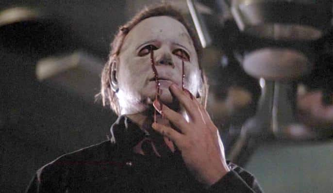 Blood tears on Michael Myers' mask in Halloween 2