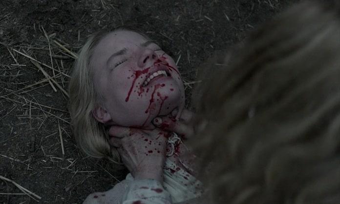 Katherine strangling Thomasin