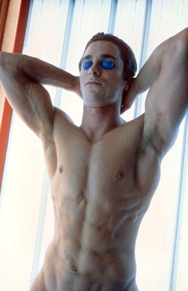 Patrick Bateman naked tanning