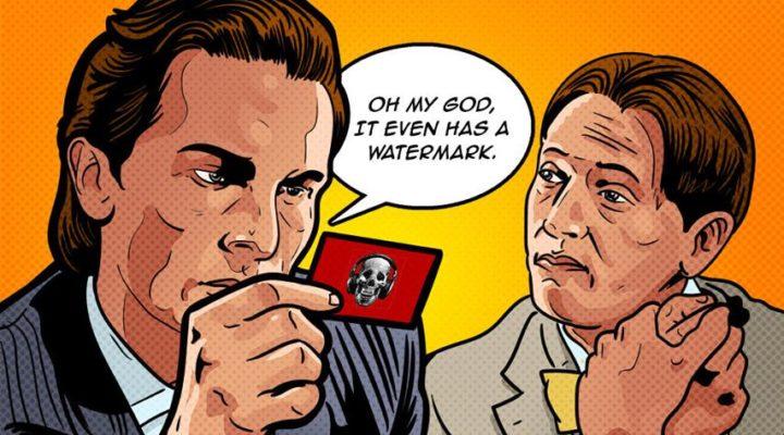 American Psycho business card illustration horror movie talk