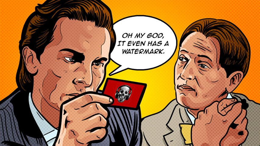American Psycho business card illustration horror movie talk