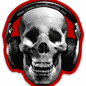 Horror Movie Talk Old Logo Skull With Headphones Sticker
