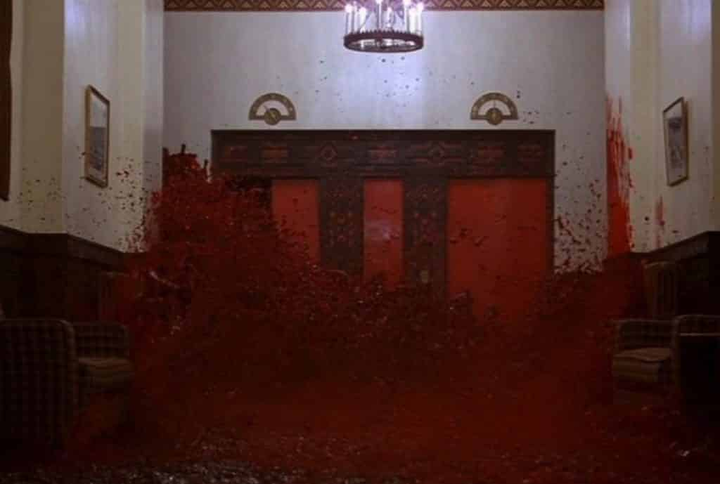Blood spilling out of the elevator in The Shining