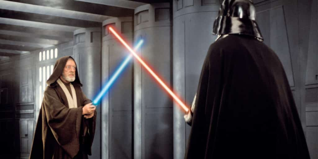 Obi Wan and Darth Vader dueling