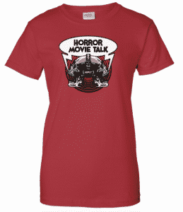 Horror Movie Talk Womens Red Logo Tee