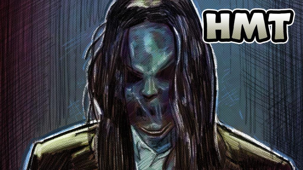 Sinister horror movie talk podcast illustration